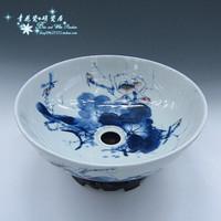 Ceramic wash basin wash basin blue and white ceramic basin