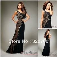 Free Shipping Sexy Tony Bowls Black Beaded Gold Embroidered One Shoulder Evening Dresses 2013 New Arrival