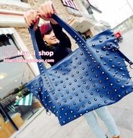 Punk shoulder bag large capacity  vintage shoulder bag spike street casual all-match bag