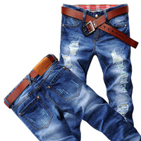 Fashion men's jeans  Spring, summer, autumn can be to wear torn jeans long pants Cat whisker jeans men's joker character
