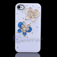 Free Shipping Fashion Luxury 3D Cute White Pretty Bling Diamond Butterfly For iPhone 4G 4S Back Hard Case Cover