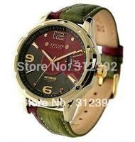 Popular Julius Brand  Men's Quartz Wrist Watch Sport Fashion Round Leather Band Japan Movement Calendar JAH-033 green Waterproof