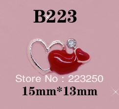 Free Shipping 100pcs/Bag 15*13mm Heart 3D Metal Nail Art Decorations Shining Rhinestones B223 Alloy Crystal Metallic Diamond
