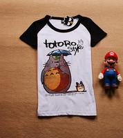 2013 summer o-neck women's cotton 100% totoro short-sleeve slim T-shirt 641