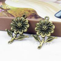 Free shipping !!wholesale charm zinc alloy bronze antique pendant 100PSC DIY fashion jewelry accessories  bronze Flower Pendan