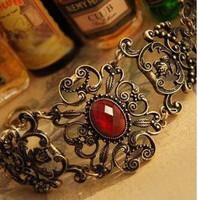 Free shipping Fashion accessories vintage bracelet royal vintage delicate stenciling ruby vintage bracelet 7171  min order $10