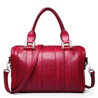 2013 new arrival decent genuine leather women's small handbags boston style red black shoulder bags free shipping