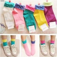 Free Shipping Novelty Stub Ends Candy Color Dots 100% Cotton Socks Roll Up Hem Women's Sock