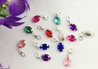 15PCS Mixed colours of rhinestone oval clip on charms #22661FREE SHIPPING