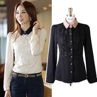 Free Shipping 2014 Spring/Autumn Korean Fashion Style Elegant 3D Rose Floral Collar Blouse Black/White Designer Shirts For Women