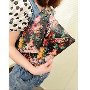 Low Price! 2015 punk trend rivet day clutch bag/oil painting envelope/shoulder bag cross-body women's handbag    BK23
