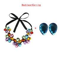 Free shipping Fashion Shiny Crystal Set Acrylic Flower Trendy Ribbon Pendant Necklace/Earring DJS0049