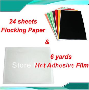 Free Shipping 12sheet Flocking Paper & 6yards Hot adhesive film Heat Transfer T-shirt Printing