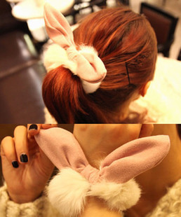 Rabbit fur suede fabric rabbit ears headband hair accessory plush winter fur hair accessory(China (Mainland))