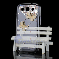 Free Shipping HOTSALE New Fashion Luxury Crystal 3D Butterfly Bling Case Cover Skin For Samsung Galaxy S3 SIII i9300