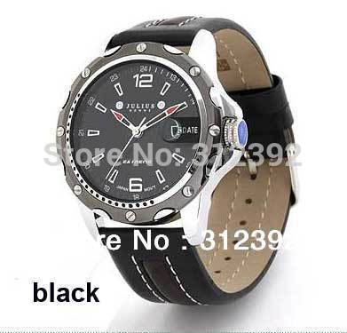 Personality Male WristWatch, Authentic, JULIUS HOMME Men's Sport Watch High Quality Genuine Leather Band JAH-007 Black(China (Mainland))