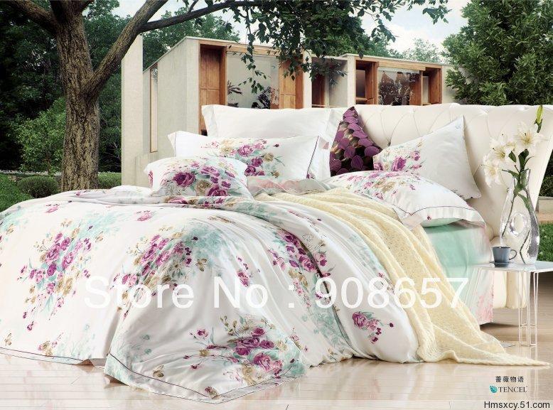 Luxuoso Tencel tecido 800TC Queen / roupa de cama tamanho completo violeta flores vermelhas da menina impresso conjunto de cama colcha / capas de edredão 4 pcs(China (Mainland))
