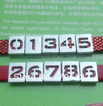 8mm Metal figure charms fit leather belt bracelet alloy Arabic numerals beads 300pcs