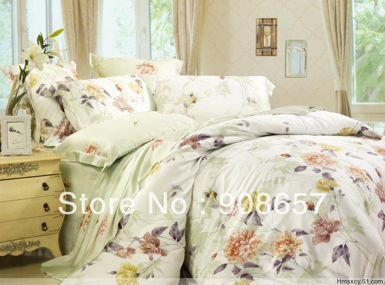 Flores frescas bege impresso luxuoso Tencel tecido 800 fios contagem Queen / roupa de cama completa conjunto de cama quilt / capas de edredão 4 pcs(China (Mainland))