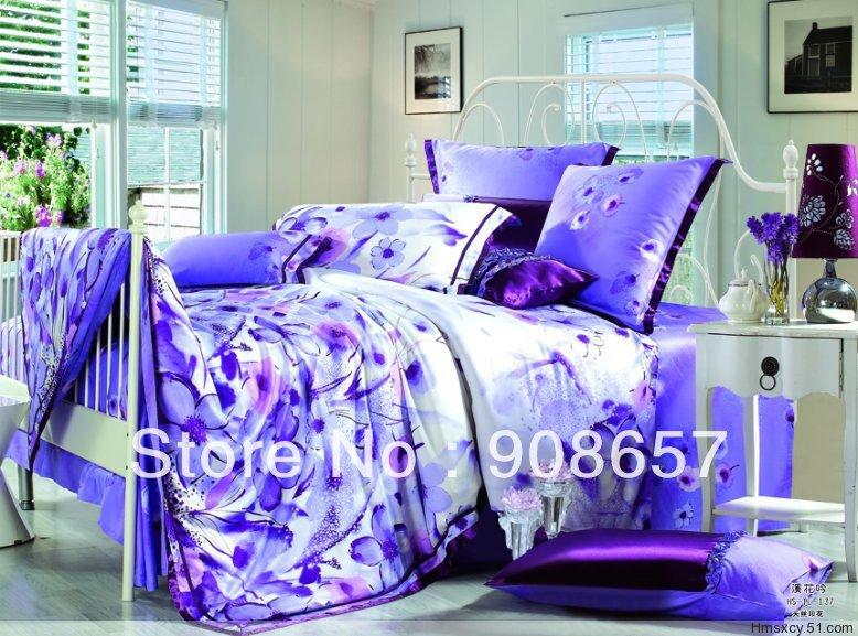 Flores roxas impresso luxuoso Tencel tecido 800 fios contagem Queen / jogo de cama completo da menina roupas de cama colcha / capas de edredão 4 pcs(China (Mainland))