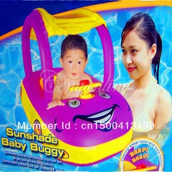 New Inflatable Baby Kid Float Seat Boat Ring Adjustable Durable Car Sunshade Swim Swiming Pool Water Fun great buoyancy Purple