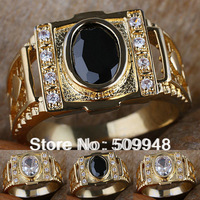 Men 7x9mm Oval White Topaz  Black Onyx 24K Gold Filled Ring R127 GFLM Size 9 10 11 J8212 super price