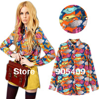 New Womens Long Sleeve Fish Print Chiffon Button Down Shirt Blouse Tops Size S M LCY0493