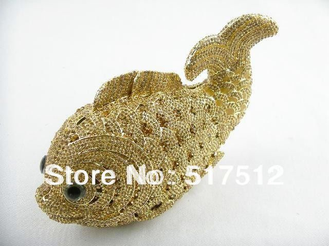 NEW ARRIVAL free shipping luxury handbag women 2013 crystal fish shape handbag clutch bag gold for women on wedding(China (Mainland))