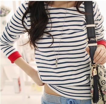 New Women Tops O-Neck T-Shirt Long Sleeve Striped T Shirts Tees Blusas Femininas Free Shipping