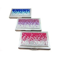 Latest wholesale fashion free shipping(10pcs/lot) Luxury 100% handmade Gradient Colors bling card case
