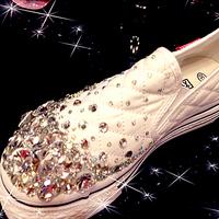 Gorgeous platform gem stereo diamond handmade canvas low platform wedges platform crystal single shoes