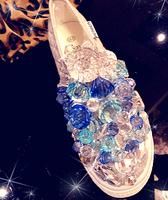 Limited edition platform gem stereo handmade canvas low platform wedges platform crystal shoes