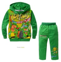 New 5sets/lot Autumn children clothing suit set/Baby boys two-piece fashion Teenage Mutant Ninja Turtles set/Hoodie+Pants