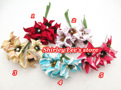 NEW ARRIVAL !!! 150 bunches=900pcs (2.5cm) Mulberry Paper Flowers for scrapbooking, Mix 5 Colors, *EMS FREE SHIPPING*(China (Mainland))