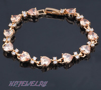 Free shipping Champagne Crystal & AAA Zircon 18K k Gold Plated Bracelets Health Nickel & Lead free Fashion jewelry TB031
