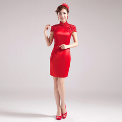 2013 bride cheongsam water soluble lace breathable comfortable red short formal dress married short-sleeve evening dress(China (Mainland))