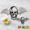 Free Shipping 1set/lot(1set=2pcs) New Arrival Exquisite Embroidery Skull Wings Patches Cloth Paste Wholesale