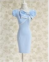 Free Shipping Fashion 2013 New Summer Women's Dresses Elegant Sweet Bowknot Embellished Short Sleeves Slim Dresses Light Blue