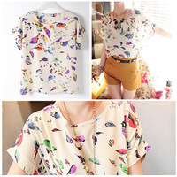 Womens Fashion Casual Loose Multicolor Birds Print Chiffon Blouse Tops T-shirt A2342