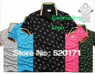 men's printing classic crocodile embroidery logo cotton shirts short sleeve golf shirt