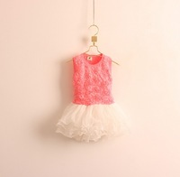 New arrival Korean children&#39;s clothing wholesale Girls petals spell yarn fluffy vest dress kids rose flower gauze dresses
