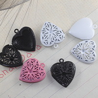 20*5mm mix pink/white/black painted color heart hollow locket, antique locket