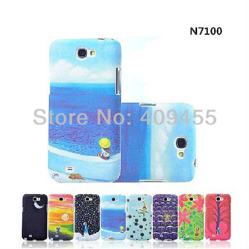 jimi Cartoon scenery style best back cover hard For Samsung Galaxy note 2 N7100 free shipping