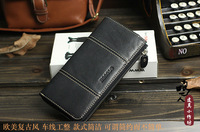 2013 [Free Shipping] New Tough Leather Black / Brown Perfect  long leather men's wallet 605
