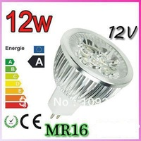 High quality 2pcs/lot  Aluminum  MR 16 12w 12V Pure/cold/warm white Spotlight Lamp LED lights Free shipping