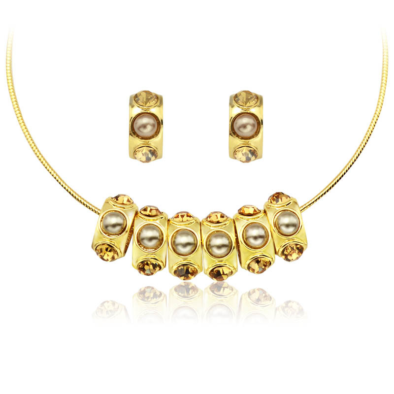 Summer new arrival pearl necklace collar gold luxurious noble and fashion accessories set female(China (Mainland))