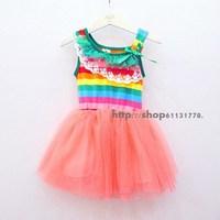 2013 summer female child lace decoration stripe color stripe tank dress one-piece dress