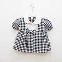 Children summer 2013 female child plaid peter pan collar 100% short-sleeve cotton shirt dress clothes