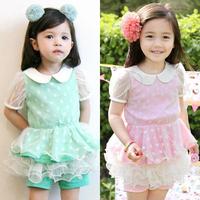 2013 summer female child ladies dot yarn short-sleeve culottes set