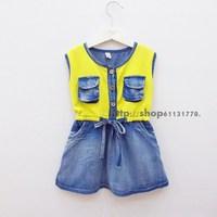 2013 summer female child casual 100% juxtaposition cotton denim casual tank dress